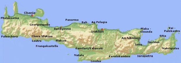 Cartina Creta.Mappa Di Creta